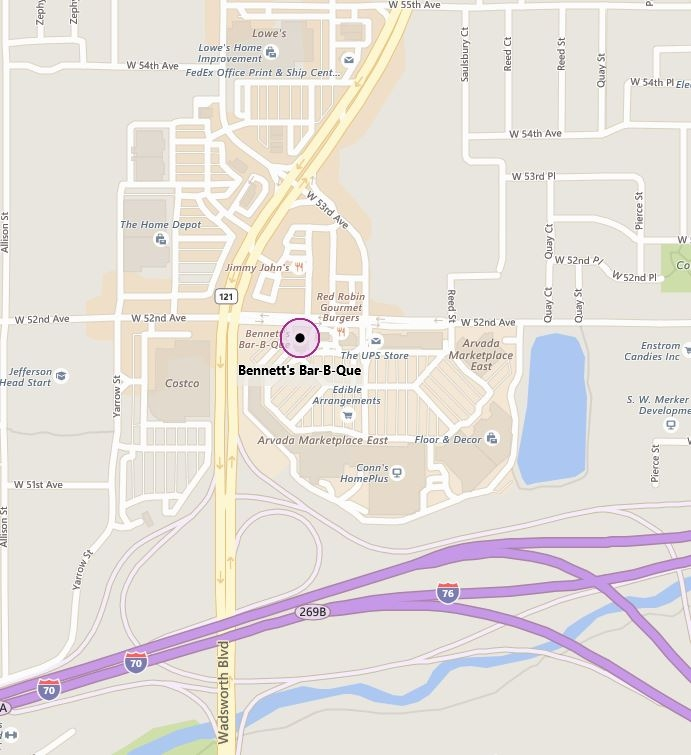 Map to Meeting @ Bennett's BBQ Arvada