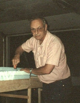 circa 1998: Bob Drake working on one first modules of the club